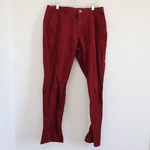 Bonobos Washed Chinos Maroon Pants Sz 33x32
